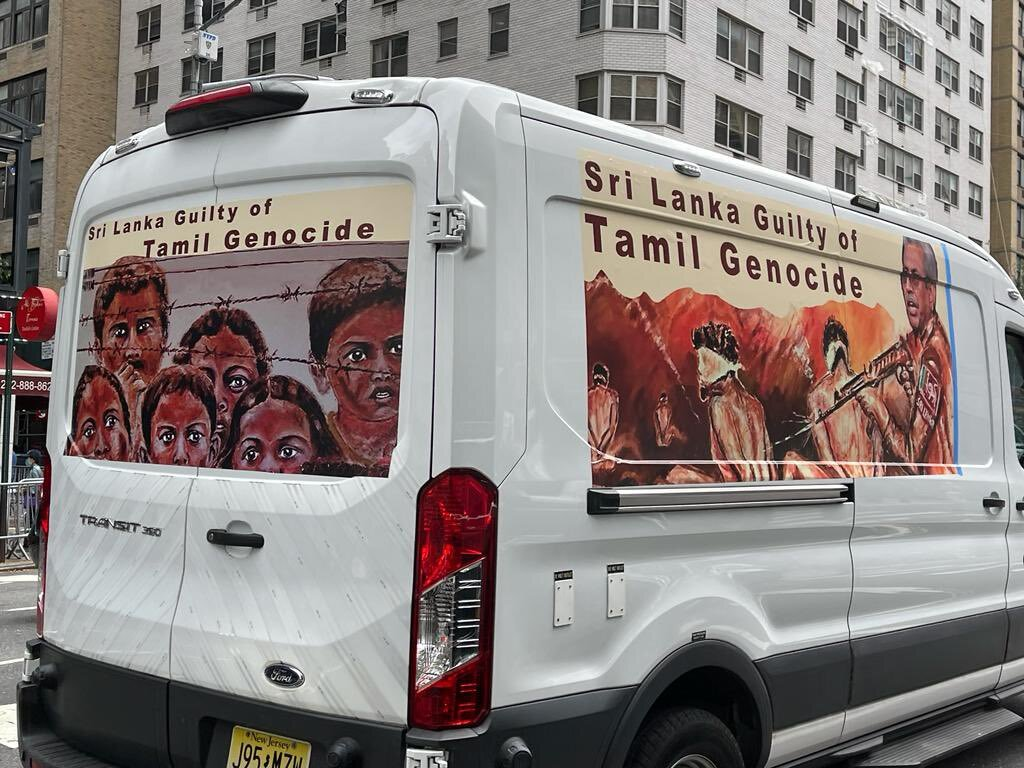 While Gotha Was Addressing UN – Rudrakumaran Adressed a Huge Crowed Outside UN, Highlighting Tamil Genocide By Gotha